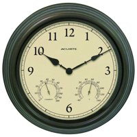 15-inch Weathered Bronze Outdoor Clock with Thermometer and Humidity