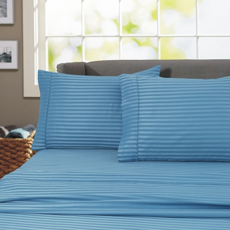 600 Thread Count 100% Cotton Wrinkle Free Striped Sheet Set (California King, Teal) ()