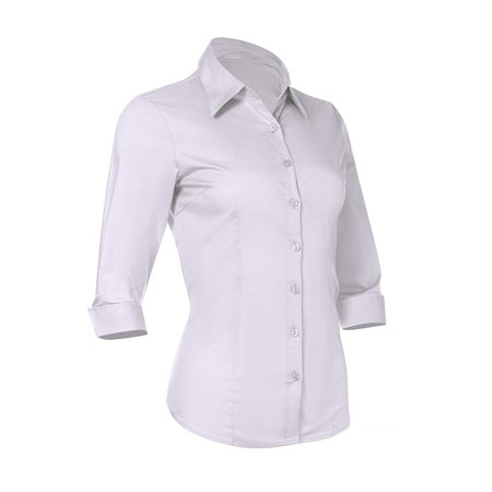 Pier 17 Women's Button Down Shirts Tailored 3/4 Sleeve Shirt, Stretchy Material (X-Small, White)