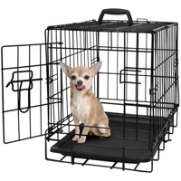 """Paws & Pals 20"""" Heavy Duty Foldable Single Door Dog Crate with Removable ABS Plastic Floor Tray, 20"""" x 13"""" x 16"""""""