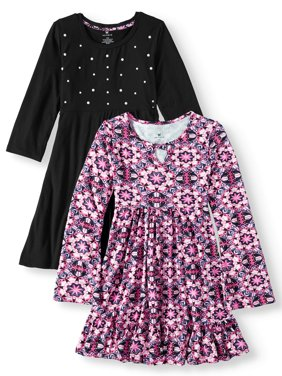Girls' Print and Pearl Stud Soft Knit Dresses, 2-Pack
