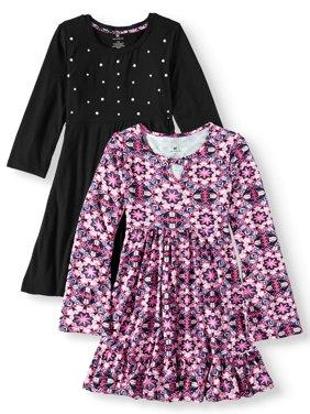 Print and Pearl Stud Soft Knit Dresses, 2-Pack (Little Girls & Big Girls)