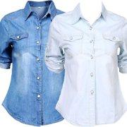 4e241e61 The Noble Collection Retro Women Casual Blue Jean Soft Denim Long Sleeve  Shirt Tops Blouse Jacket