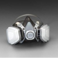 3M Large Black Thermoplastic Elastomer Half Mask 5000 Series P95 Disposable Dual Cartridge Air Purifying Respirator With 4 Point Harness