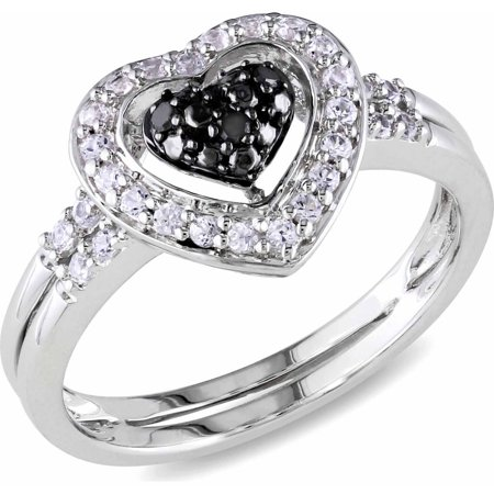 Double Blend - 1/3 Carat T.G.W. Created White Sapphire and Black Diamond-Accent Sterling Silver Double Band Heart Ring