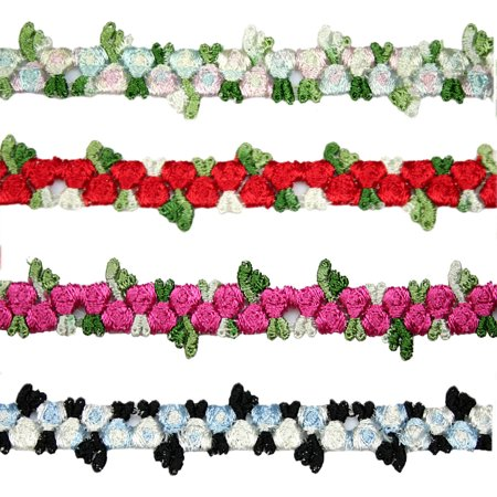 """Kiddo 5/8"""" Red Blue Pink Black Small Rose Flowers Embroidered Floral Lace Trim"""