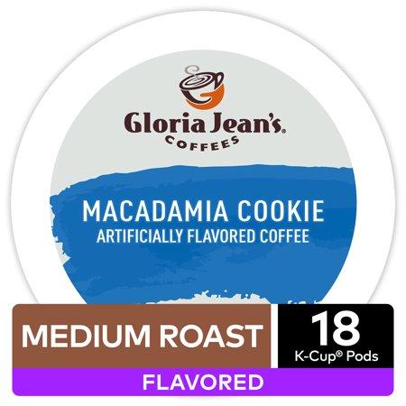 Macadamia Caramel (Gloria Jean's Macadamia Cookie Coffee, Flavored Keurig K-Cup Pod, Medium Roast, 18ct )