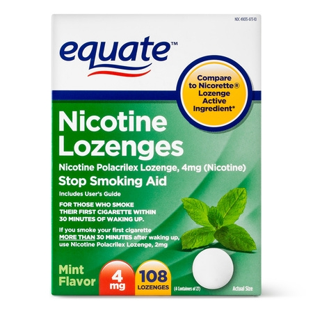 Smoking Cessation Aid - Equate Nicotine Lozenges, Mint Flavor, 4 mg, 108 Count