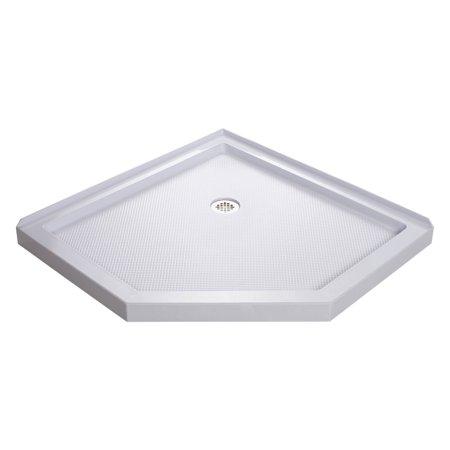 DreamLine SlimLine 38 in. D x 38 in. W x 2 3/4 in. H Corner Drain Neo-Angle Shower Base in White 38' Neo Angle Shower Base