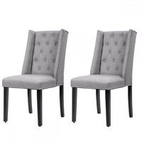 Set Of 2 Grey Elegant Dining Side Chairs Button Tufted Fabric W/ Nailhead