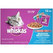 Whiskas Choice Cuts Seafood Selections Variety Pack Wet Cat Food, (12) 3 Oz. Pouches