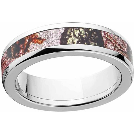 Pink Break Up Women's Camo Stainless Steel Ring with Polished Edges and Deluxe Comfort Fit](Camo Ring)