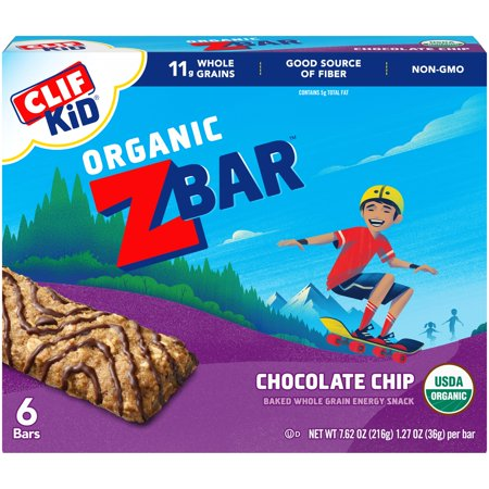 (3 Pack) CLIF Kid Organic ZBar Chocolate Chip Baked Whole Grain Energy Snack 1.27 oz, 6