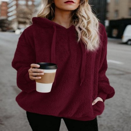 Fuzz Sweater (Women's Pullover Hoodie for Women, Long Sleeve Hooded Fleece Sweatshirts for Juniors, Wine Red / Gray Fashion Sweater Outwear for Women, Autumn Winter Warm Fuzzy Zip Up Hoodies Tops for)