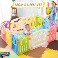 Harper&Bright Designs DreamHouse Baby Playpen 8 Panel Safety Play Center, Butterfly