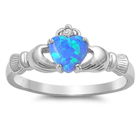CHOOSE YOUR COLOR Sterling Silver Women's Claddagh Friendship Blue Ring Band (Blue Simulated Opal/Ring Size - Claddagh Engagement