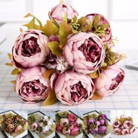 Vintage Artificial Peony Silk Flowers Bouquet for Wedding Party Office Hotel and Home Decoration