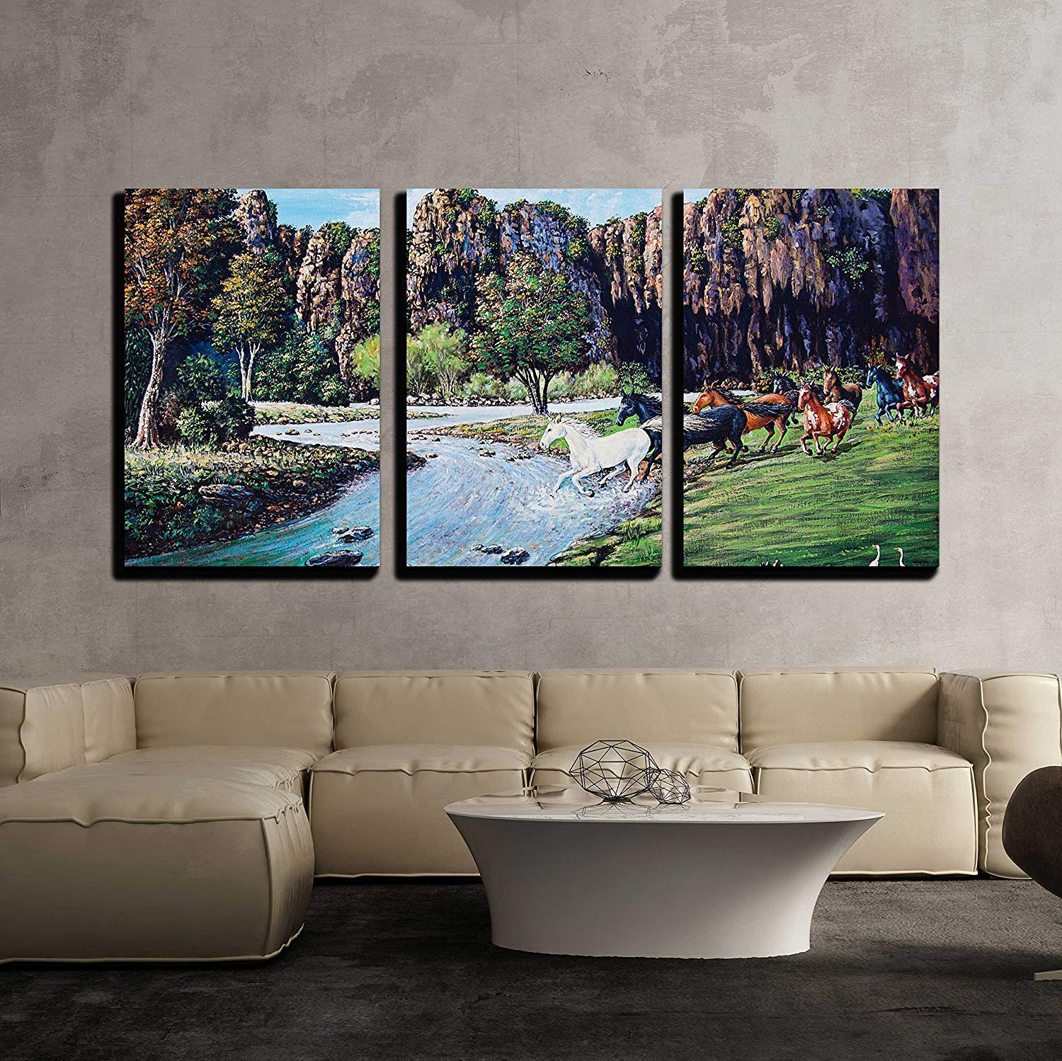 Great Wall26   3 Piece Canvas Wall Art   Horse Crossing The River Of Oil Painting