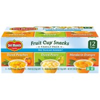 (12 Cups) Del Monte Fruit Cup Snacks No Sugar Added Assorted Flavors, 4 oz cups