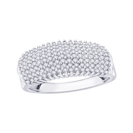 Diamond Anniversary Ring in Sterling Silver (1 cttw) (I-Color, SI3/I1-Clarity) (Size-7.5)