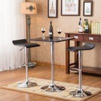 Roundhill Furniture Baxton Black Square Top Adjustable Height Wood & Chrome Metal bar Table & 2 Black Chrome Air Lift Adjustable Swivel Stools Set