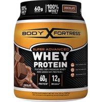 Body Fortress Super Advanced Whey Protein Powder, Chocolate, 60g Protein, 2 Lb