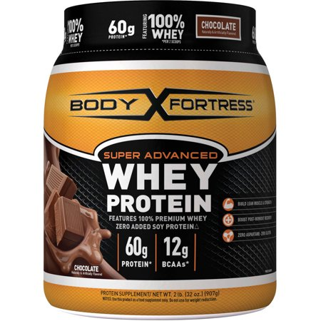 Body Fortress Super Advanced Whey Protein Powder, Chocolate, 60g Protein, 2 Lb (Protein Powder Without Caffeine)
