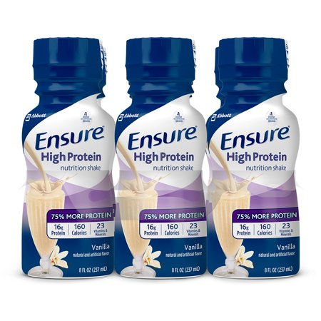 Ensure High Protein Nutritional Shake with 16g of High-Quality Protein, Ready-to-Drink Meal Replacement Shakes, Low Fat, Vanilla, 8 fl oz, 6