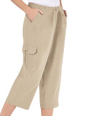 Women's Elastic Waist Cargo Pocket Capri Pant, Xx-Large, Khaki