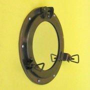 "India Overseas Trading IR4862 - Porthole Iron Antique Finish Mirror, 9"""