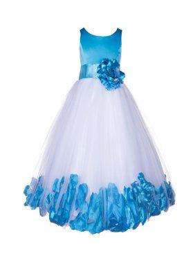 Ekidsbridal Rose Petals Tulle Flower Girl Dress Wedding Pageant Toddler Easter 167T turquoise size 6
