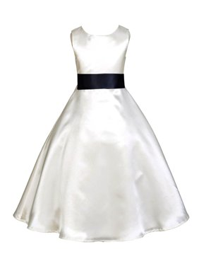 Ekidsbridal Formal Satin Ivory A-Line Flower Girl Dress Bridal Bridesmaid Wedding Pageant Toddler Recital Easter Summer Reception Communion Graduation Baby Baptism Special Occasions 821s