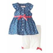 2c5887beafb Little Lass Infant Girls Denim Top   Leggings Outfit 2 Piece Set 3-6 Months