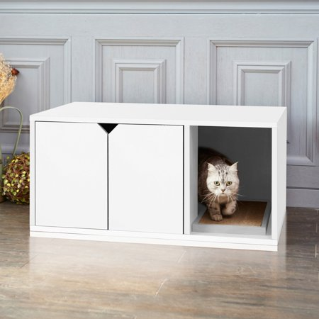 - Way Basics Eco-Friendly Enclosed Cat Litter Box, White