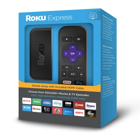 Roku Express HD - WITH 30-DAY FREE TRIAL OF SLING INCLUDING CLOUD DVR ($40+ (Best Internet Streaming Device For Tv)