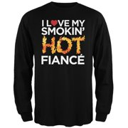 I Love My Smokin Hot Fiance Black Adult Long Sleeve T-Shirt