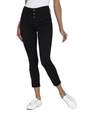Juniors' Triple Stack Ankle Wide Cuff Crop Jeans
