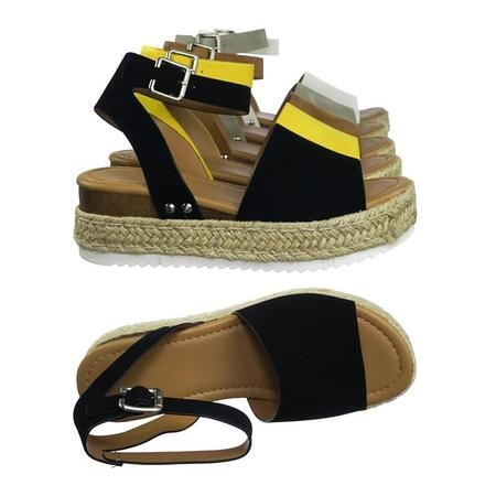 - Topic by Soda, Espadrille Jute Rope Wrap Platform Flatform Rubber Shark tooth Flat Sandal