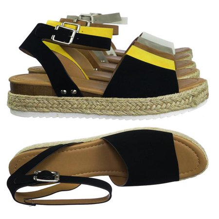 Band Platform Sandal (Topic by Soda, Espadrille Jute Rope Wrap Platform Flatform Rubber Shark tooth Flat Sandal )