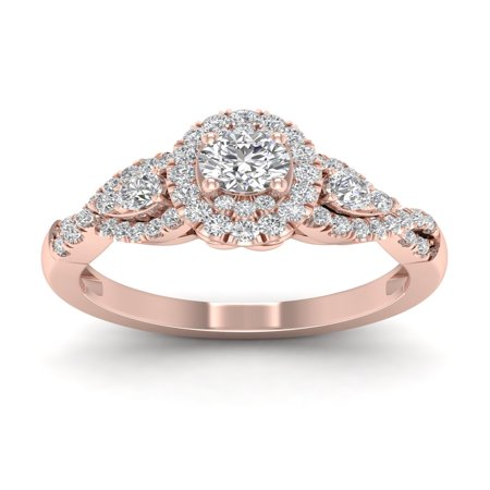 1/2ct TDW Diamond 14K Rose Gold Halo Twist Shank Engagement Ring (White Diamond Twist Ring)