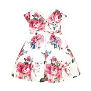 edd93f5ac02 Sweet Kids Baby Girls Off-White Fuchsia Floral Print Flower Girl Dress 6-24M
