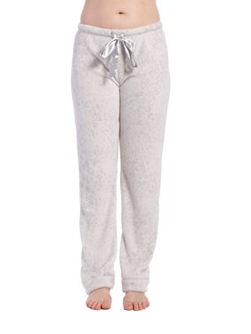 Women's Coral Fleece Plush Lounge Pants - Zebra - Charcoal/Black - 2XL
