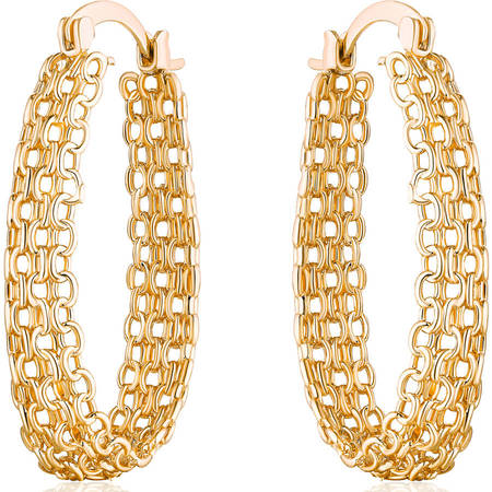Elegant 18k Gold-Plated Cable Link Hoop Earrings with Clip-Back Closures