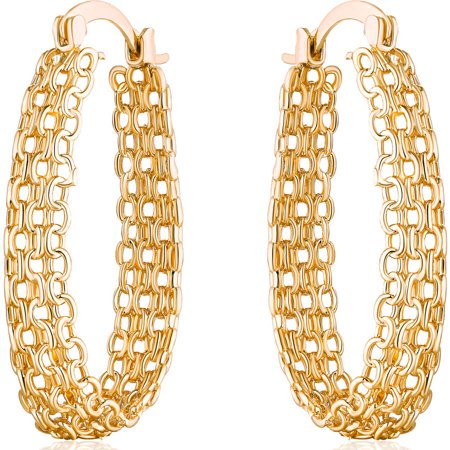 - 18kt Gold-Plated Cable Linked Hoop Earrings