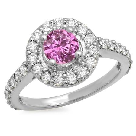 Dazzlingrock Collection 14K Round Pink Sapphire & White Diamond Halo Style Bridal Engagement Ring 1 CT, White Gold, Size 7 (Halo Style Round Diamond)