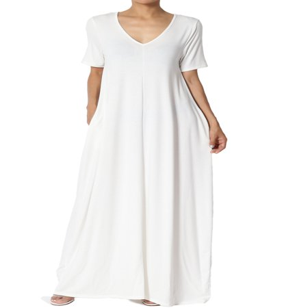 - TheMogan Women's S~3X Soft Jersey Oversized V-Neck Short Sleeve Maxi Dress W Pocket