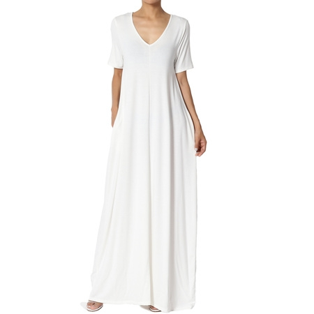 TheMogan Women's S~3X Soft Jersey Oversized V-Neck Short Sleeve Maxi Dress W Pocket ()