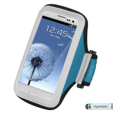 Premium Sport Armband Case for OPPO Mirror 5s/ Neo 5 (2015) - Light Blue + MYNETDEALS Mini Touch Screen Stylus - Neon Armbands