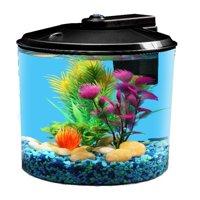 Aqua Culture Aquarium Starter Kit with LED Lighting, Round Aquarium, 1.5-Gallon