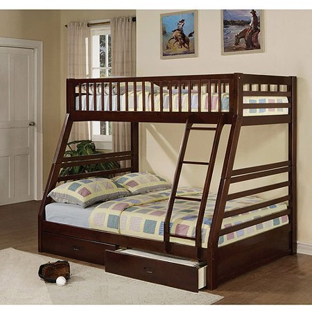 Jason Twin Over Full Wood Bunk Bed Espresso Walmart Com